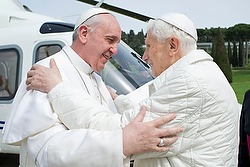 Pope Francis embraces emeritus Pope Benedict XVI at papal summer residence in Castel Gandolfo
